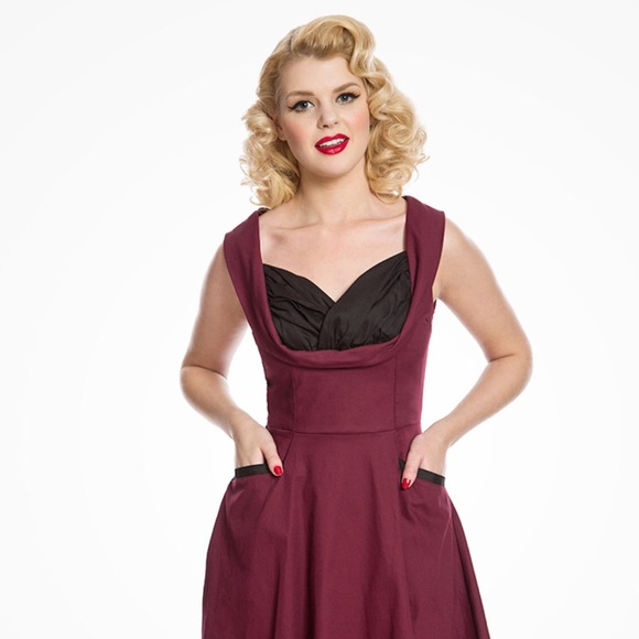 Lindy Bop Dresses Ophelia Burgundy And Black Pinup Dress Poshmark